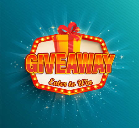 Giveaway banner,Win poster with giftbox with prize to winner in retro light frame with glowing lamps.Template design for social media posts,web banners.Offer reward in contest,vector illustration. 免版税图像 - 159367973