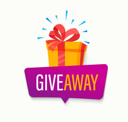 Giveaway banner, Win poster with isolated gift box with prize to winner. Template design for social media posts, web bannerswith bubble. Offer reward in contest, vector illustration. 矢量图像