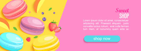 Sweet shop horizontal banner with macaroons and berries and place for text for your design. Great for kids menu, caffee, sweets posters, web, cards, cafeteris advertise.Template vector illustration. 矢量图像