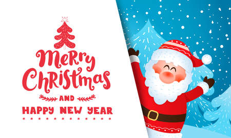 Greeting card from Santa Claus, wishing merry christmas and happy New Year and inviting to new season 2021.Banner,flyer for seasonal holidays with place for text. Vector illustration. 免版税图像 - 159367977