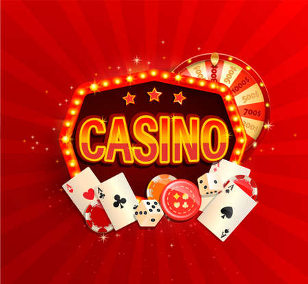 Online casino banner in vintage light frame with poker cards, playing dice, chips, fortune wheel and other gambling design elements. Invitation poster template on shiny background.Vector illustration.