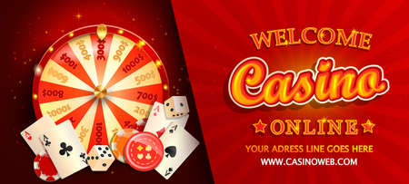 Welcome online casino gorizontal banner with poker cards, playing dice, chips, fortune wheel and other gambling design elements. Invitation poster template on shiny background.Vector illustration.