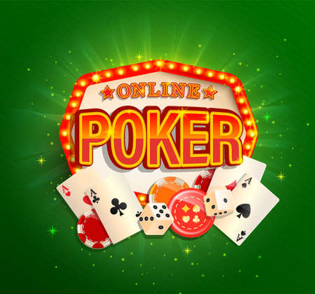 Online poker banner in vintage light frame with poker cards, playing dice, chips and other gambling design elements. Invitation poster template on shiny background.Vector illustration.