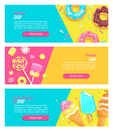 Set of sweet shop horizontal banners with marshmallow,ice creams and place for text for your design.Great template for kids menu