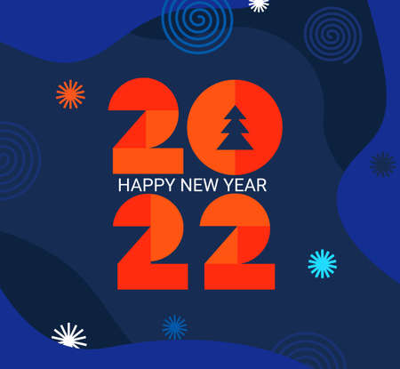 2022 New Year greeting card with geometric numbers Stock Illustratie