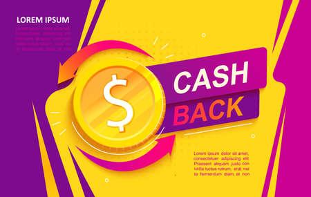 Cash back advertise banner. Promotion of refund. Stock Illustratie