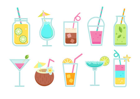 Set of summer non-alcoholic and alcoholic drinks.