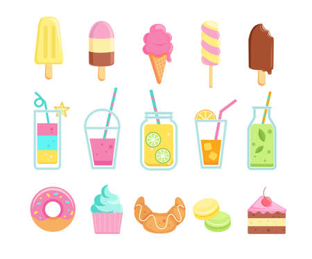 Set of tasty sweet summer drinks and food icons. Stock Illustratie