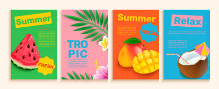Set of summer flyers,cards with tropical themes. Stock Illustratie