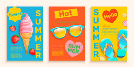Summer flyers,cards with hot season symbols.
