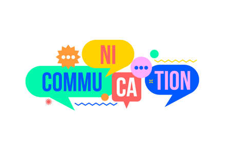 Communication concept from colorful speech bubble.