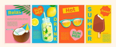 Summer flyers,cards,posters with hot season themes