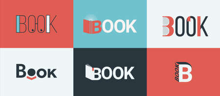 A set of book, bookstore design concepts. 矢量图像