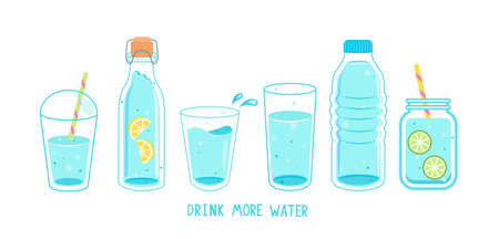 Set of clean and fresh water in bottles, glasses.