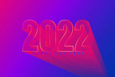 2022 futuristic New Year greeting banner.