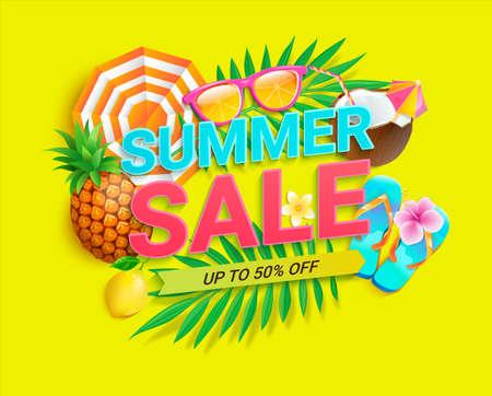 Bright sale banner for summer 2021 shopping. 矢量图像