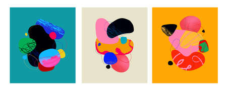 Handdrawn abstract set with colorful shapes.