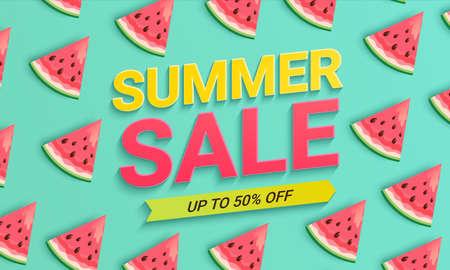 Watermelon sale banner for summer 2021.