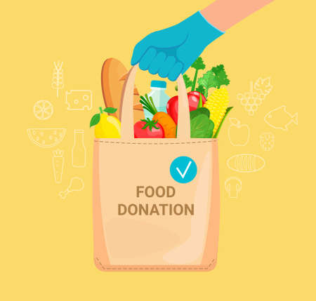 Hand in gloves with bag full of donation food. 矢量图像