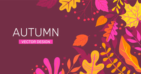 Autumn banner with autumn leaves, place for text.