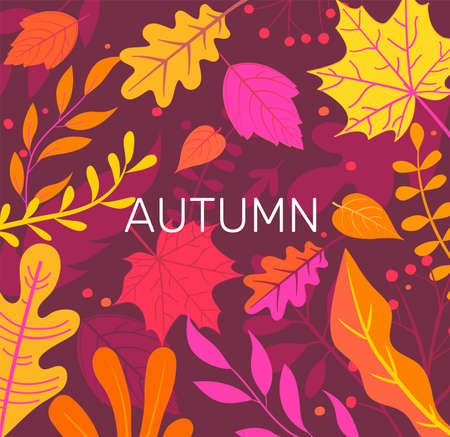 Autumn banner full of colorful autumn leaves.