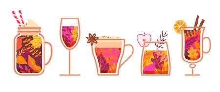 Autumn hot spicy drinks. 矢量图像