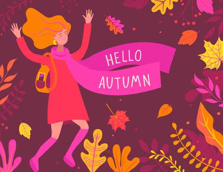 Autumn banner with happy girl. 矢量图像
