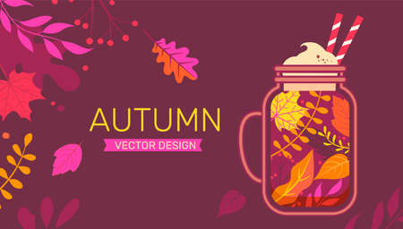 Autumn banner with fall leaves and sweet drink.