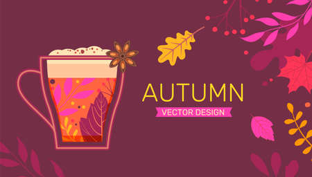 Autumn banner with fall leaves and hot drink. 矢量图像