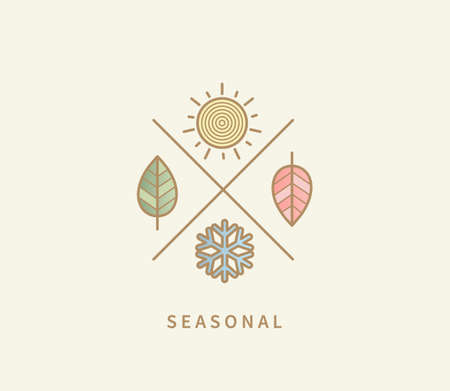 Symbols for four seasons. Icon set with signs for hot summer,cold winter,red autumn and green spring. Snowflake, red and green leaf, sun. Great template for logo, web, design. Vector illustration. 矢量图像