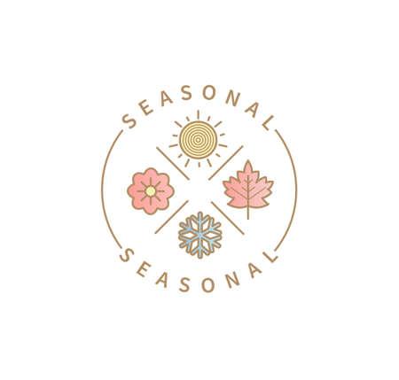 Symbols for 4 seasons,summer,autumn,winter,spring.