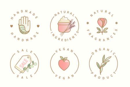 Handmade,natural ingredients,sale,organic logo. 矢量图像