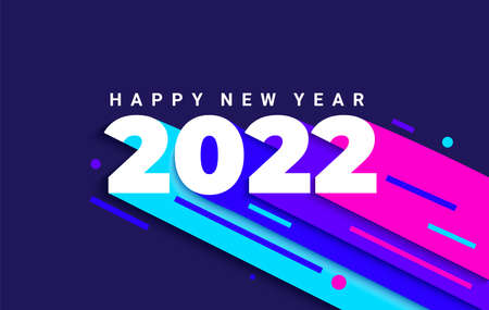 Bright dynamic banner for 2022 new year. 矢量图像