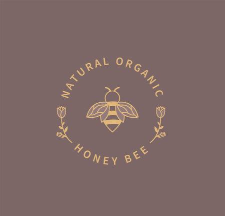 Honey bee logo. 矢量图像