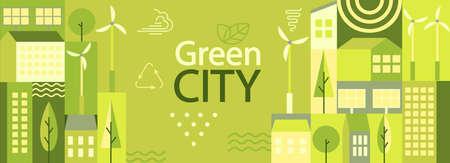 Green city horizontal banner.