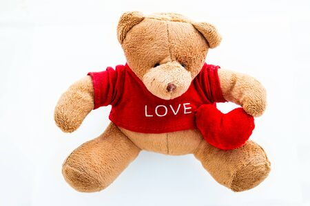 Teddy bear with sweet Valentine heart and LOVE t-shirt