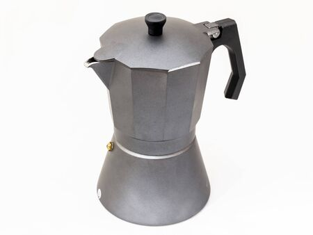 Real grey classic italian coffee pot isolated on white background Stock fotó