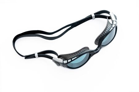 Sports black swimming pool glasses with blue glasses on white background