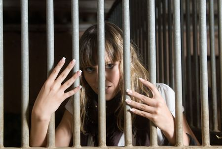 woman in troubles in a jail