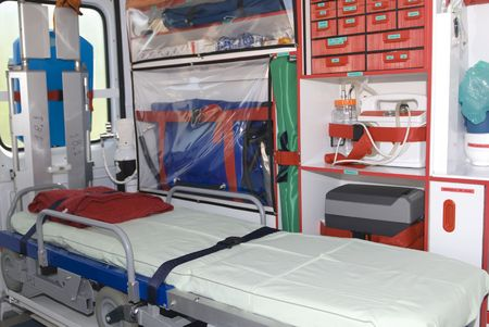 emergency vehicle: ambulance equipament into the emergency vehicle