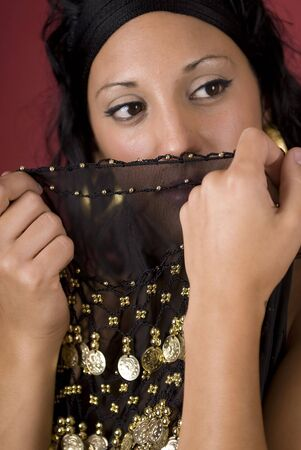 Beautiful arabian style dancer with black veil Stock Photo - 3598464