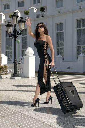 hailing: fashion woman Hailing Taxi