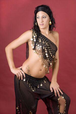 Beautiful arabian style dancer with black veil Stock Photo - 3743687