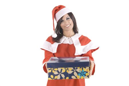 A pretty woman at Christmas holding a gift box photo