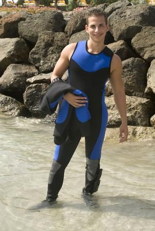 skindiver: Happy scuba diver