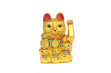neko: Golden Maneki Neko, and space for copy Stock Photo