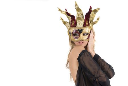 sexy woman with carnival venice mask on her face photo