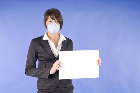 haze: executive woman with protective mask for swaine flu or others