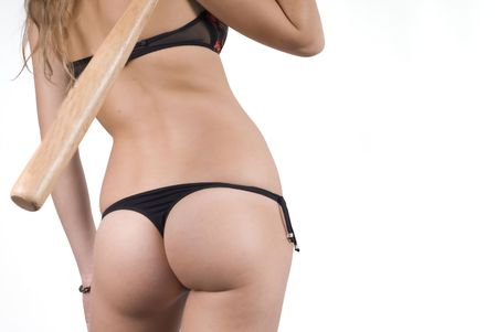 Woman bottom with baseball batter Stock Photo