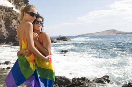 couple of women in love with lesbian rainbow flat